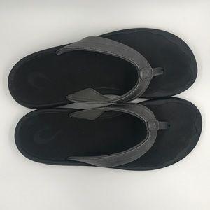 Womens Size 8 Sandal Olukai Ohana Pewter/Black